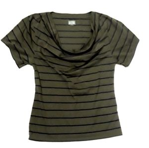Converse One Star Cowl Neck Top Striped Olive Navy